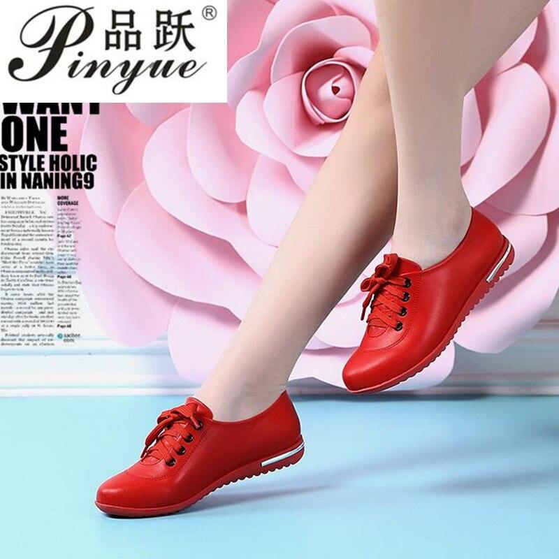 Женские кожаные кроссовки, Белые Повседневные кроссовки на шнуровке, большие размеры 34-43