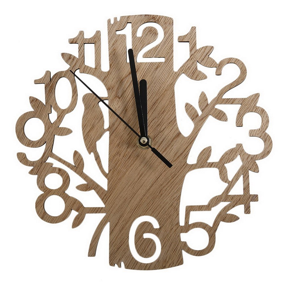 Reloj de pared creativo grande de madera de 22cm, 1 Uds., reloj de madera de cuarzo, trabajo silencioso, sala de estudio, oficina, dormitorio y sala de estar