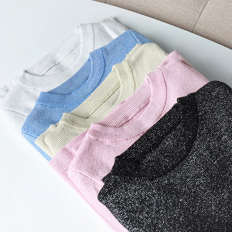 Womens Sweaters 2020 Winter Shiny Lurex Autumn Slim Sweater Women Long Sleeve Pullover Tops Basic Pull