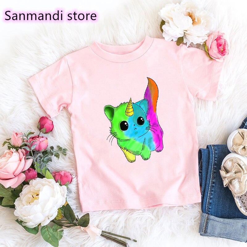 2021 heißer Verkauf Lustige T-shirt Mädchen Kinder Kleidung Regenbogen Katze Einhorn Tier Druck T Shirt Kawaii Kinder Kleidung T-Shirt Tops