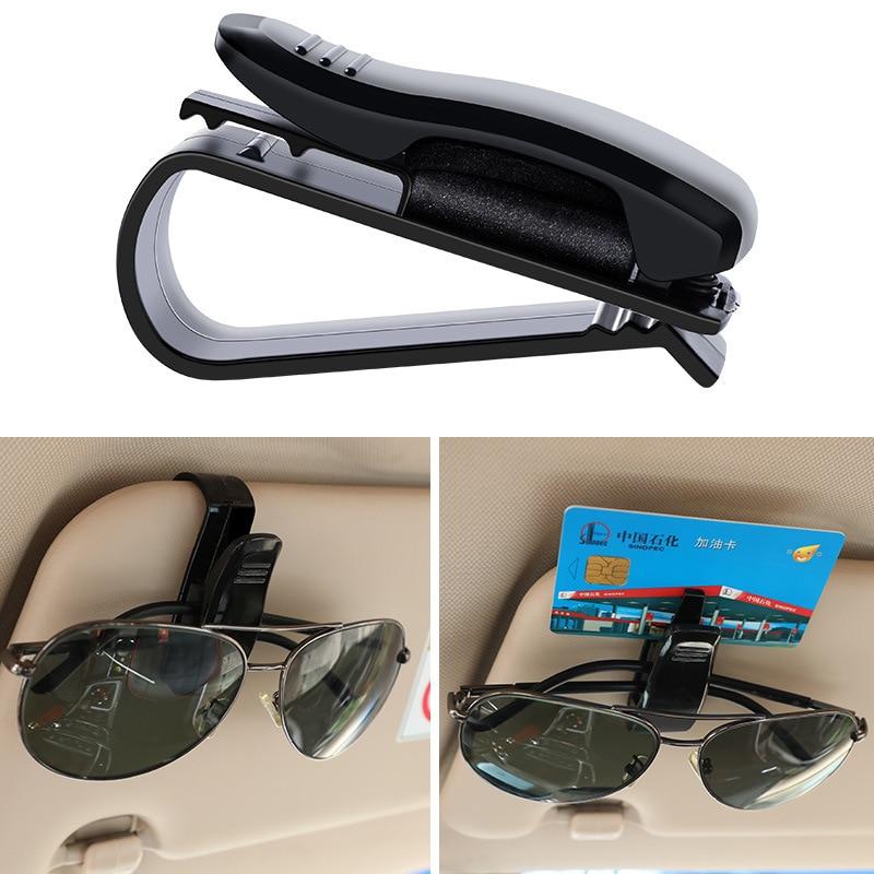 Universal Car parasol de coche caja de gafas de sol Clip tarjeta titular sujetador estuche de bolígrafo gafas Accesorios