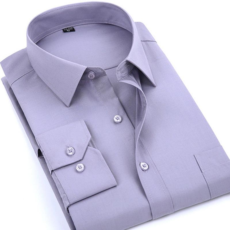 Mens Dress Casual Long Sleeve Shirt Regular Fit Male Social Shirt Classic Solid Color Business High Quality 5XL 6XL 7XL 8XL
