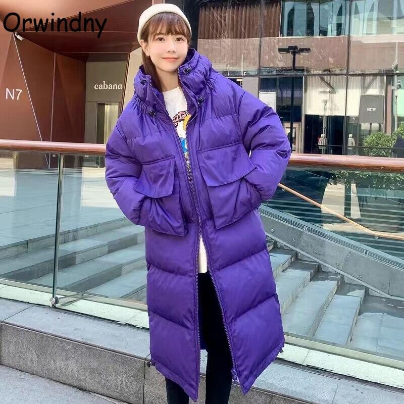 Orwindny طويلة الشتاء معطف المرأة أزياء كبير جيوب ستر مقنعين مبطن الملابس أبلى المتضخم جواكت شتوية