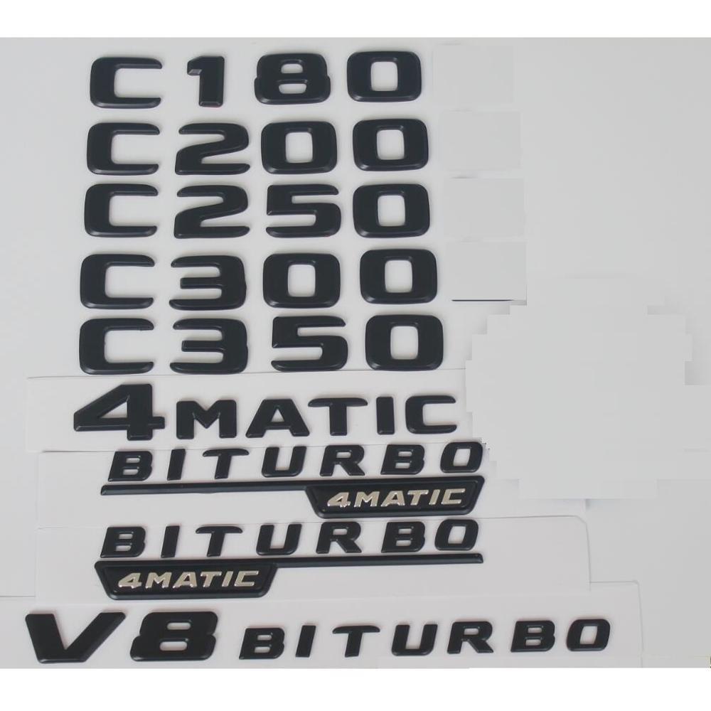 Marque Benz Black C180 C200 C220 C230 C240 C250 C260 C280 C300 C320 C340 C350 C400 C500   Emblème V8 BITURBO 4matic, pour Mercedes