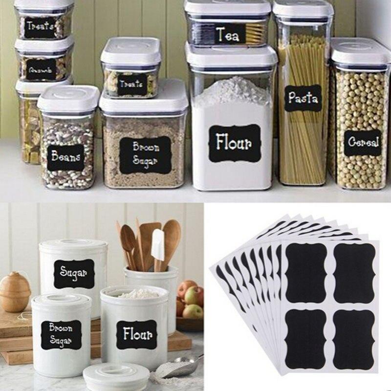 36 pçs placa preta extravagante cozinha jam jar etiqueta etiquetas decoração da etiqueta quadro scrapbook adesivos multifuncional 5x3.5 cm
