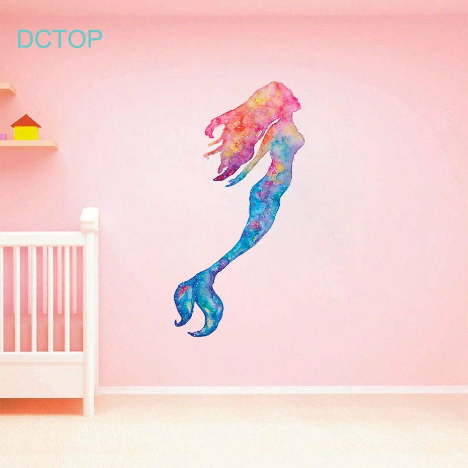 Bonitas pegatinas de pared de sirena para natación, adhesivos de océano de sirena de acuarela artística para niños, niñas, habitación, puerta, decoración del hogar, Mural de regalo
