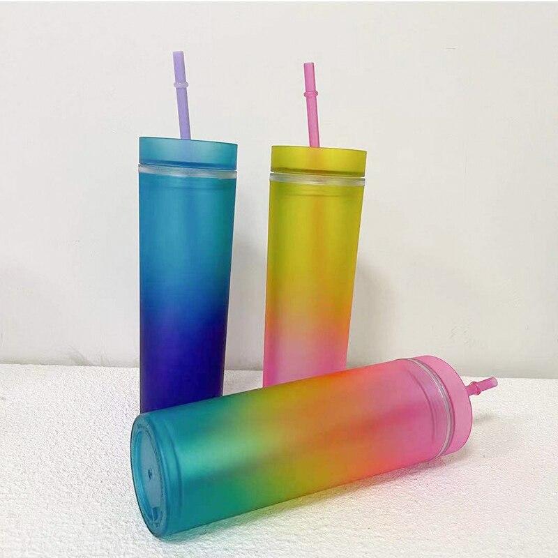 الجملة 16oz أومبير نحيل بهلوان التدرج الاكريليك مزدوجة الجدار البلاستيك زجاجة مياه صغيرة شرب الكؤوس مع غطاء القش المحمولة عصير