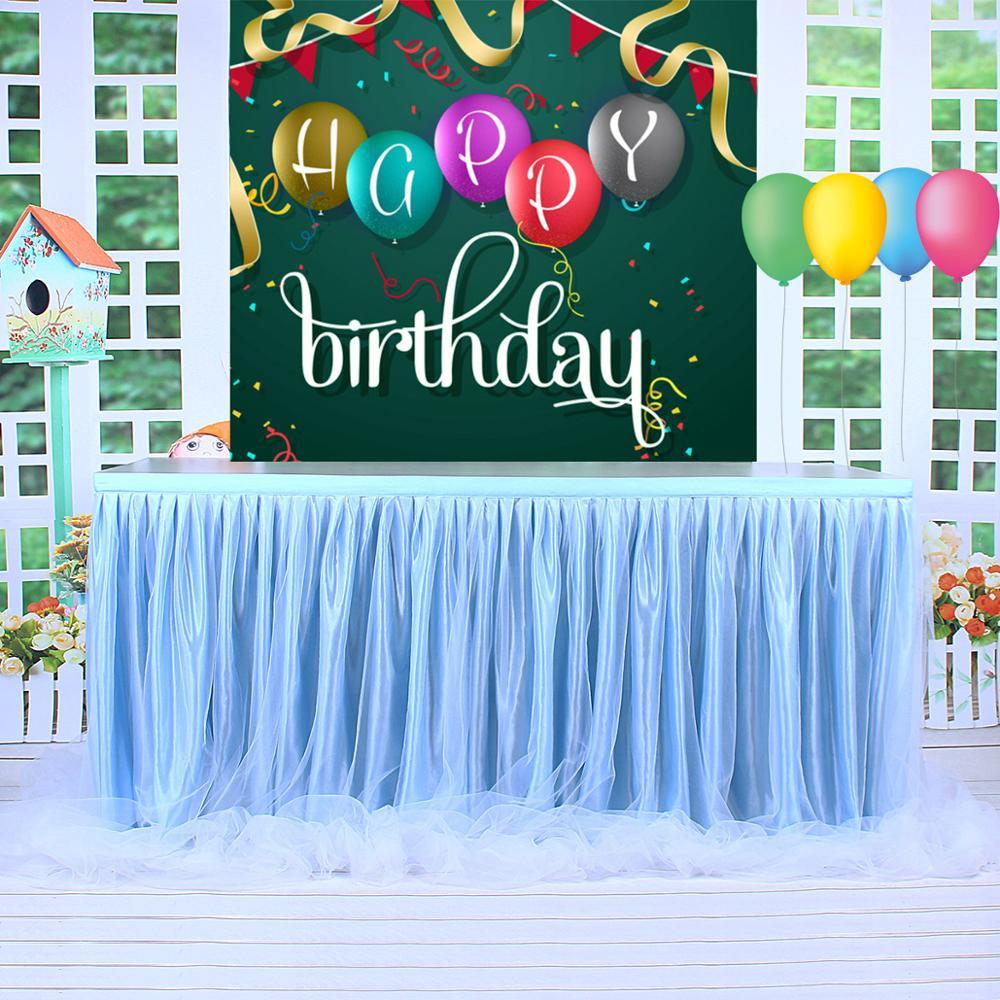 ساطع ضوء بولي تول توتو مفرش طاولة غزل طويل مفرش طاولة 3 طبقة حفل زفاف عيد ميلاد احتفالي الطفل زينة الحمام