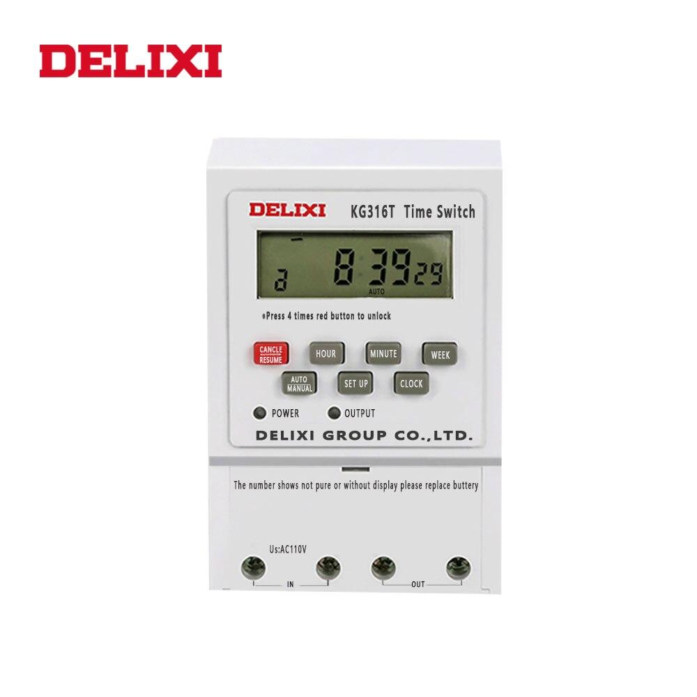 DELIXI Digitalis temporizador relé AC 220V LCD pantalla electrónica semanal 7 días temporizador programable control con carril Din montaje