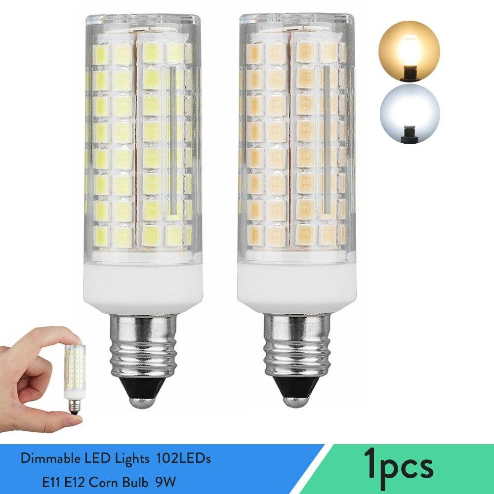 Мини затемнения светодиодный свет 102 светодиодный s E11 E12 Кукуруза лампы 9W заменить 80 Вт галогенной лампы канделябры база для дома Гостиная ...