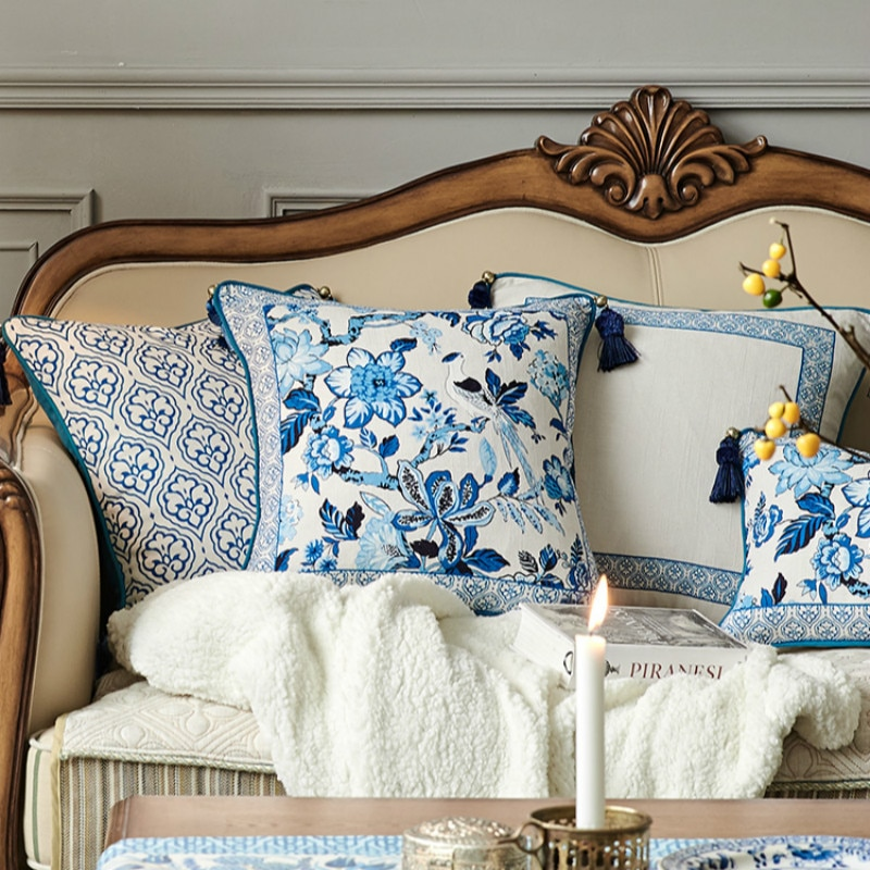 Funda de cojín de DUNXDECO funda de almohada decorativa Vintage estilo chino azul blanco porcelana pájaros Flora Coussin decoración de habitación de arte