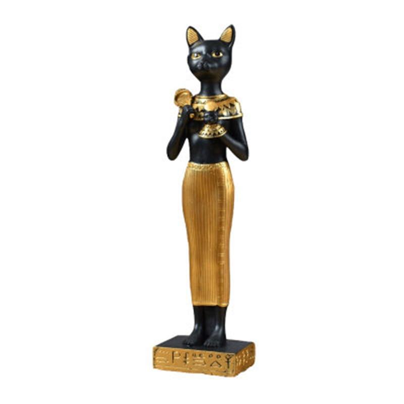 Estilo europeu criativo decoração de casa egito gato deus bast resina estátua patrono santo astrólogo fortune cat a1584
