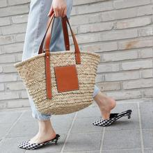 Bohemia Rattan Large Capacity Tote Bags For Women Designer Wicker Woven Women Handbags Summer Beach