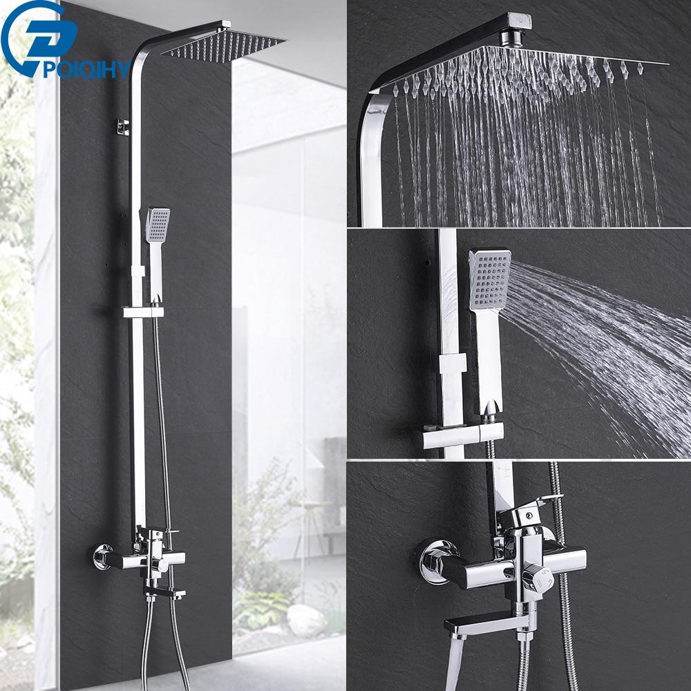 Chrome Badezimmer Dusche Wasserhahn Set Wand Halterung 8Rainfall Dusche Kopf ABS Dusche Hand Swivel Badewanne Auslauf 3-WEISEN Mixer tippen