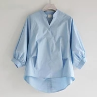 tops and blouses korean fashion lantern sleeve irregular solid color casual three quarter sleeve ladies plus size women