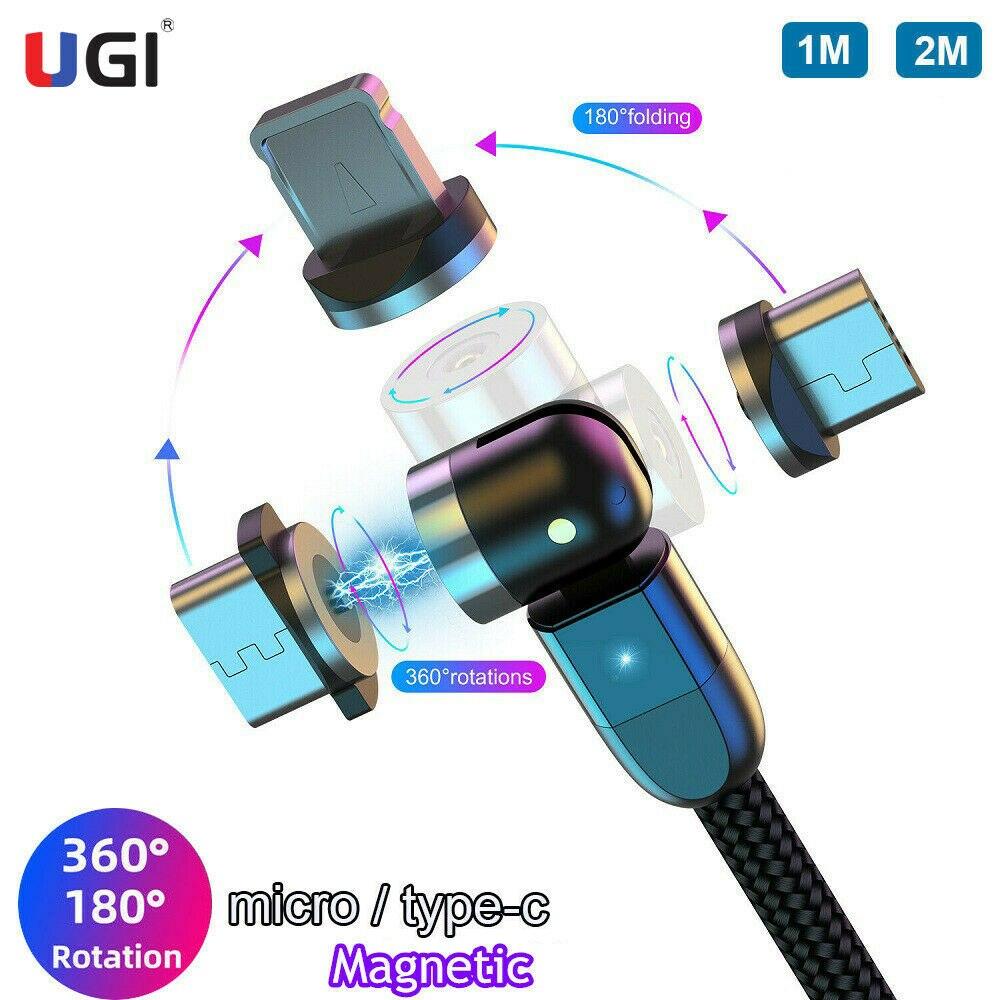 UGI-Cable magnético de carga rápida de 1M/2M, Cable Micro USB giratorio de...