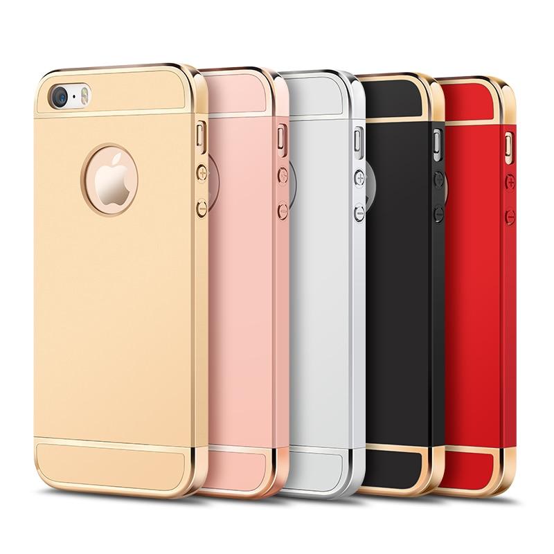 Роскошный пластиковый жесткий чехол с металлическим покрытием для iPhone 5, 5, 5, 5, 6, 6S, 7 Plus, защитный чехол, чехол для iPhone 7, чехлы для телефонов