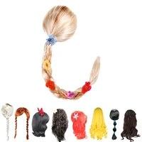 3 12 years girls princess wig children hair accessories kids tangled jasmine little mermaid moana snow white elsa anna headwear