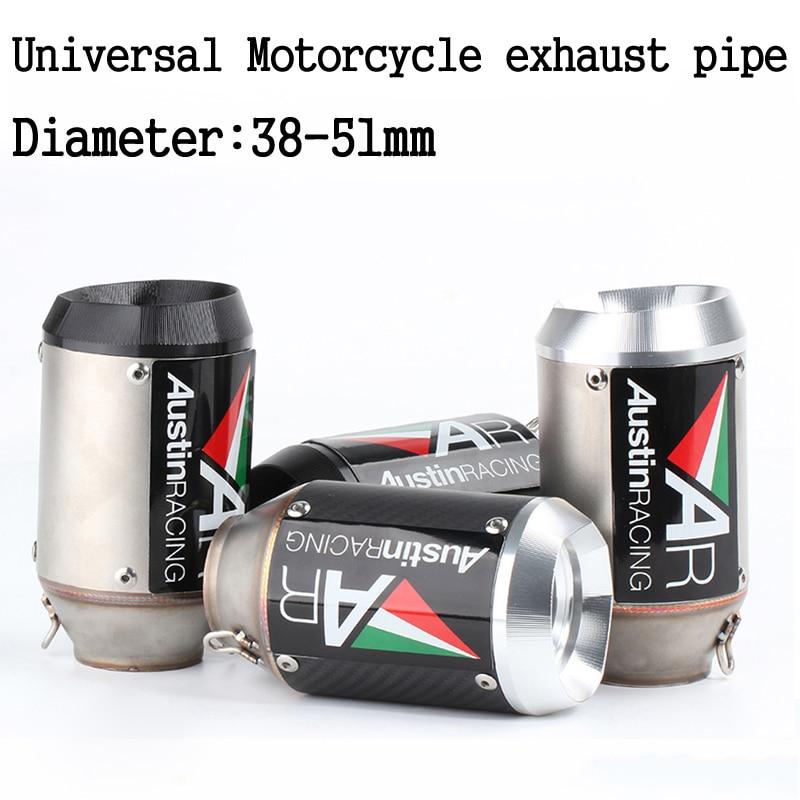 51mm 60mm universal racing tubo de escape da motocicleta ar austin fibra carbono sistema escape com db assassino para gsxr600 z1000 er6n k7