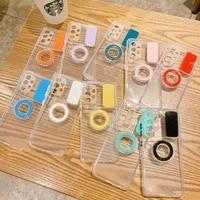 slide push window multi color ring holder phone case for samsung galaxy a32 5g a52 a72 a12 a02s soft tpu transparent back cover