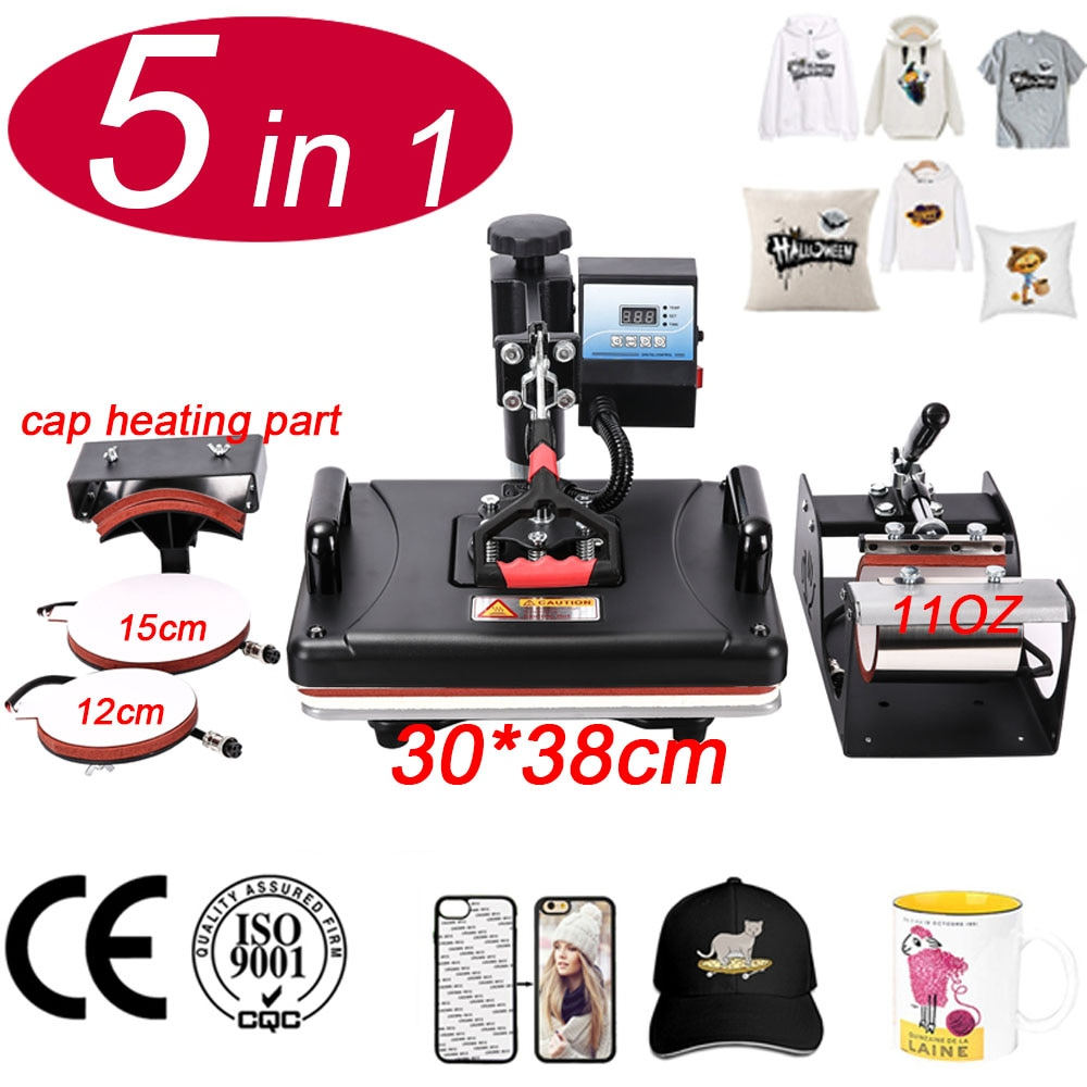 30*38 سنتيمتر 5 في 1 كومبو 2D التسامي T قميص الحرارة الصحافة آلة نقل طابعة ل القدح/جراب هاتف/قبعة