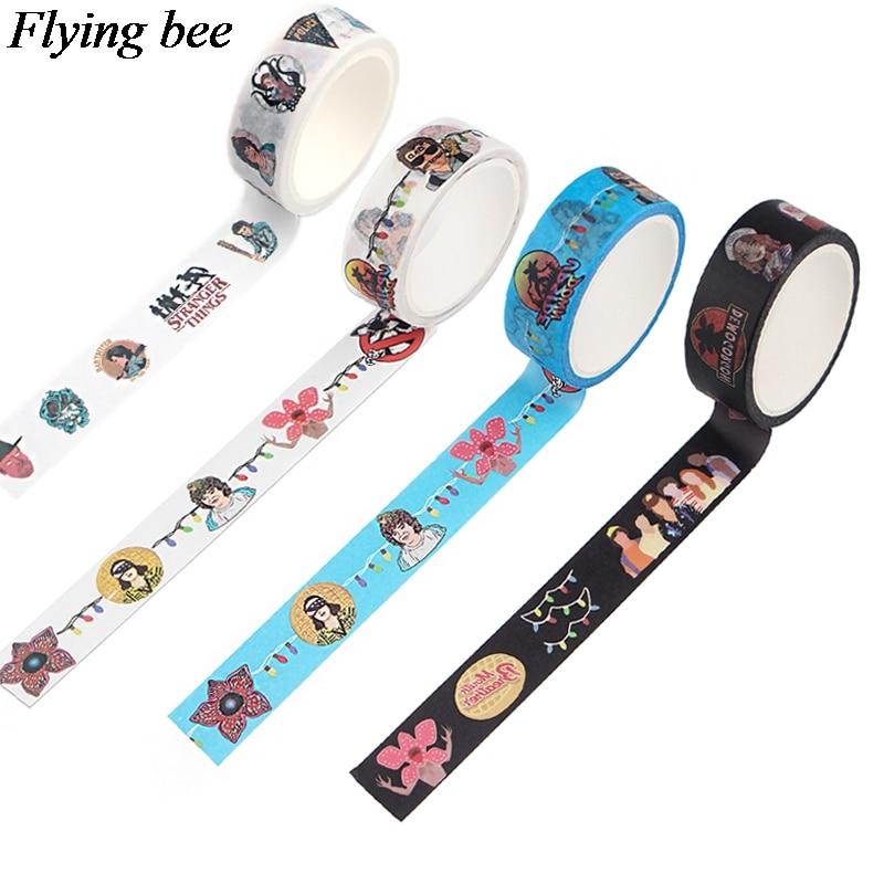 Flyingbee 15 ммх5м, странная вещь, ТВ-шоу, Васи-лента, бумага, сделай сам, декоративная клейкая лента, канцелярские принадлежности, малярные Ленточ...