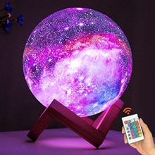 Moon Lamp Kids Night Light Galaxy Lamp 16 Colors LED 3D Star Moon Light Change Touch And Remote Cont