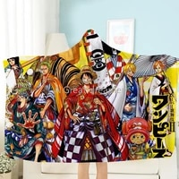 3d printing one piece luffy hooded blanket anime fleece blanket travel picnic wearable and soft blanket throw blanket for boys