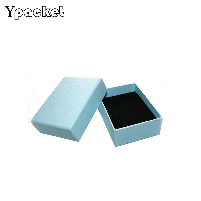 50 unids/lote azul joyería organizador caja para collar con colgante anillo caja de reloj y pendiente pequeña caja de regalo 8,5*6,5*3,3 cm
