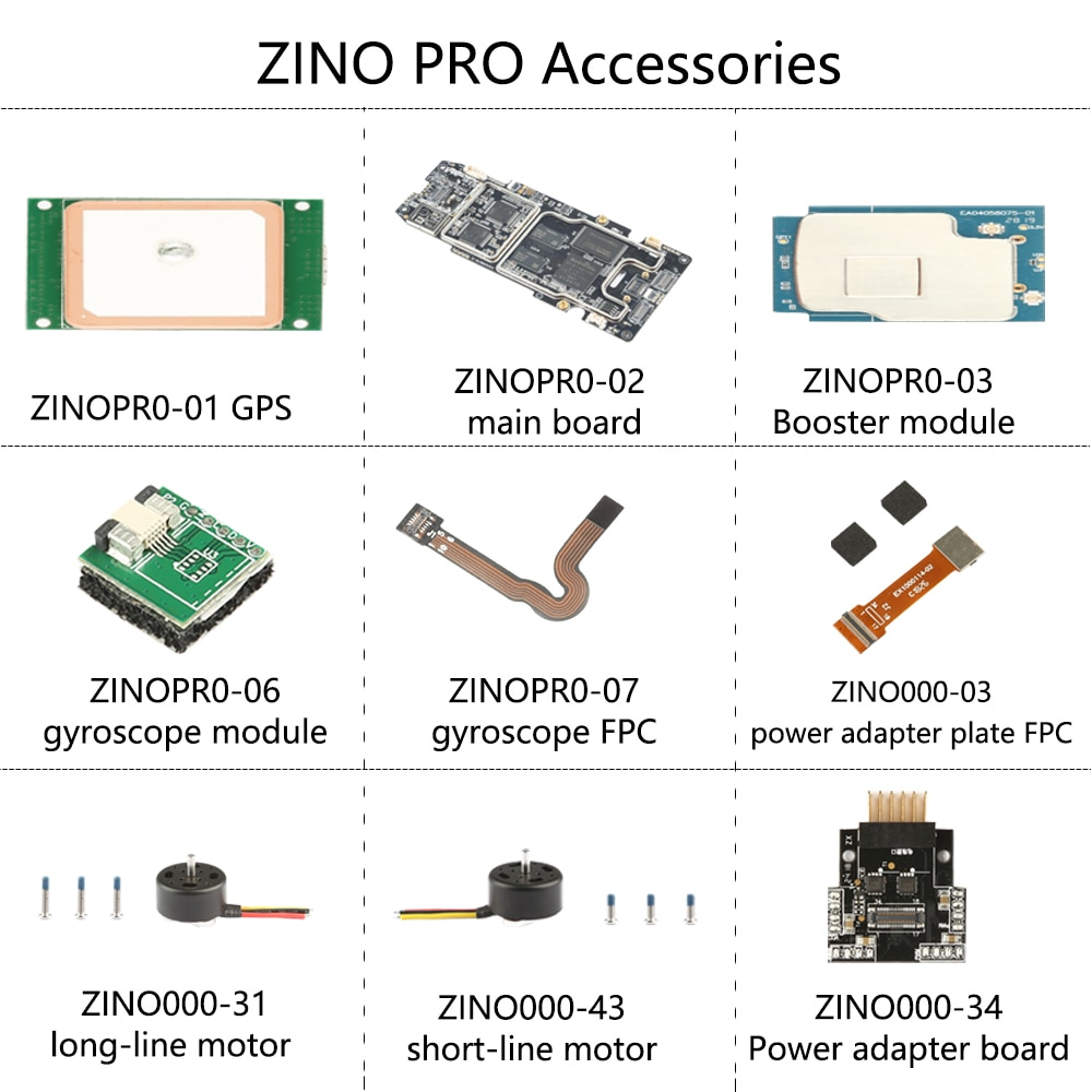 Original Hubsan ZINO PRO Accessories main board Booster module FPC gyroscope module Wifi antenna short-line motor GPS