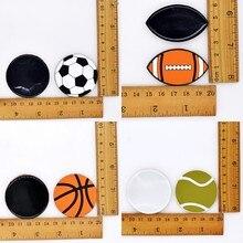 10 pièces bricolage grande taille Football Football basket-ball volley-ball Tennis Rugby balles Flatback artisanat travail à la main doux accessoire