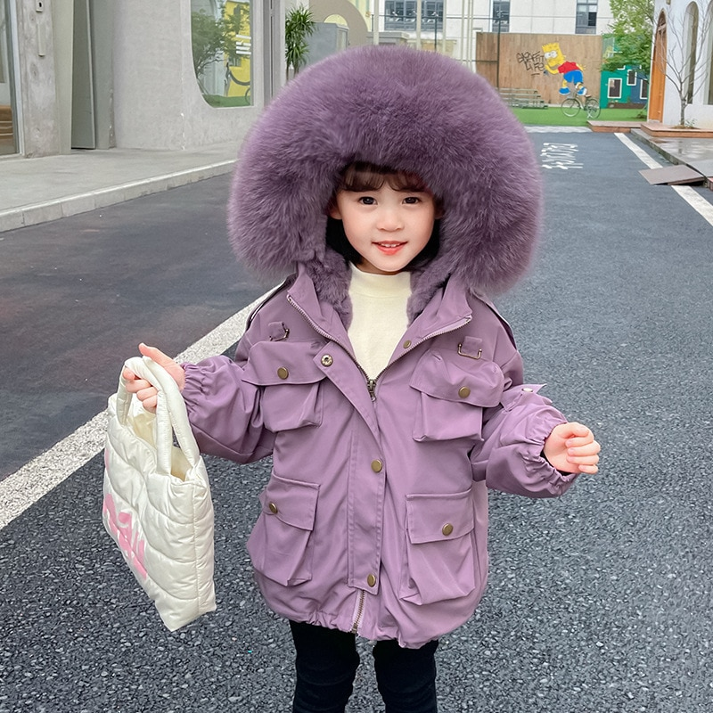 Real Fur Warm Boy Jacket Winter Hooded Baby Girl Snow Coats Outdoor Children Cold Clothes Thick Windproof Kids Snow Outerwear enlarge