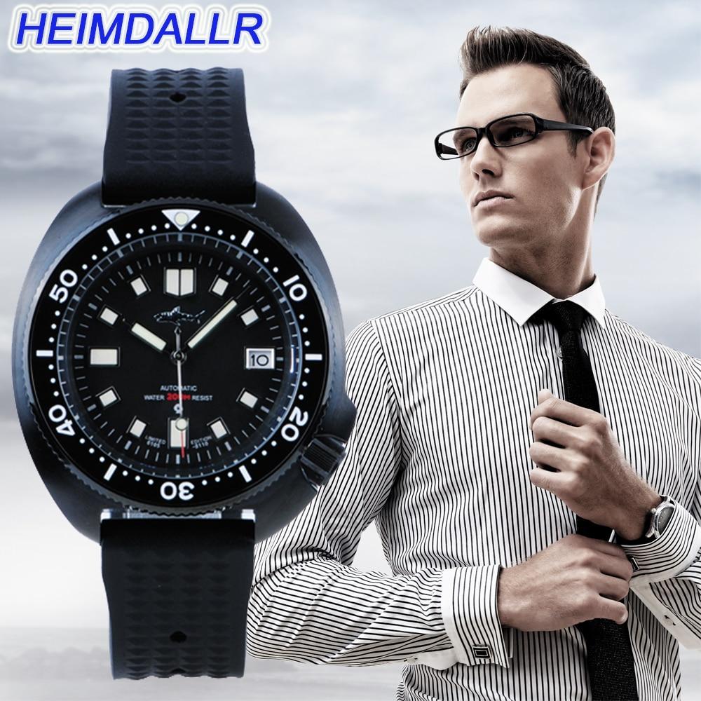 Heimdallr-ساعة يد رجالية ميكانيكية ، ساعة يد أوتوماتيكية ، علبة سوداء ، غواص ، 200 متر ، اليابان NH35A ، كريستال ياقوتي ، 2020