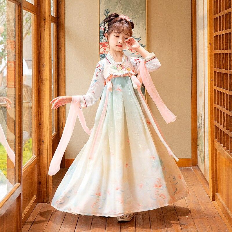 2021 فتاة الجنية ملابس فستان شعبي ملابس رقص القديمة Hanfu الصينية التقليدية زي للأطفال الأطفال تانغ دعوى المرحلة