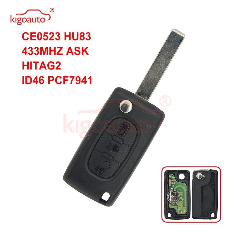 Kigoauto CE0523, llave de coche con control remoto y tapa, 3 botones de luz central HU83 434Mhz para Citroen id46-pcf7941 ASK