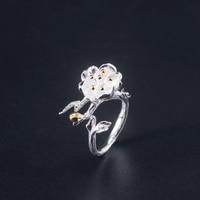 VLA 925 Sterling Silver Creative Design Begonia Flower Ring Women\'s Romantic Natural Flower Ring Adjustable Size
