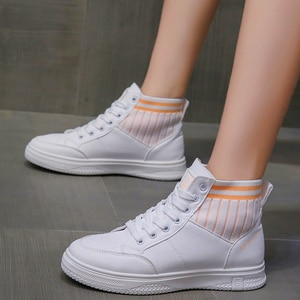 High-top Platform Pu leather  Women Shoes Retro Lace-up Ladies Casual Sneakers Outdoor Breathable Leisure Footwear Real Pictures