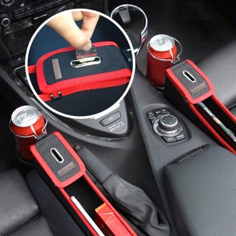 Caixa de armazenamento de couro do carro suporte de copo de água assento de carro lacuna caixa de costura fenda lateral do assento de carro fenda carteira telefone moedas cartão universal