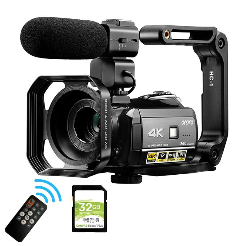 4K كاميرا فيديو للرؤية الليلية كاميرا تصوير احترافية Ordro AC3 واي فاي كاميرا رقمية للتكبير والتكبير لمسجل يوتيوب