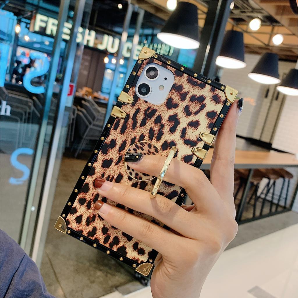Caso de leopardo quadrado para xiaomi mi9 redmi7 note7 capa bling strass dedo suporte feminino saco para redmi k20 note7 mi9 coque