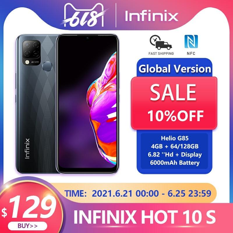 Infinix HOT 10S Global Version NFC 4GB 64/128GB Cellphone 6.82'' HD+ Display 6000mAh  Helio G85 Smartphone
