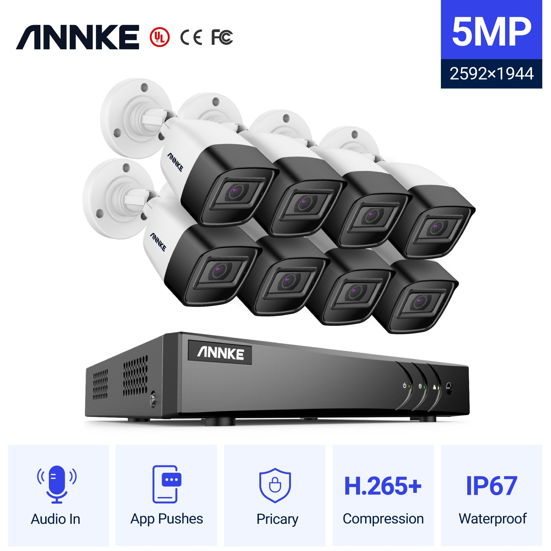 Система видеонаблюдения ANNKE, 5 Мп, 8 каналов, 5 Мп, 8 цилиндрических камер 5 Мп