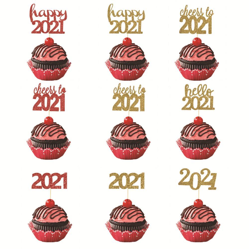Adornos para tarta de Año Nuevo, 12 Uds., adornos para cupcakes con...