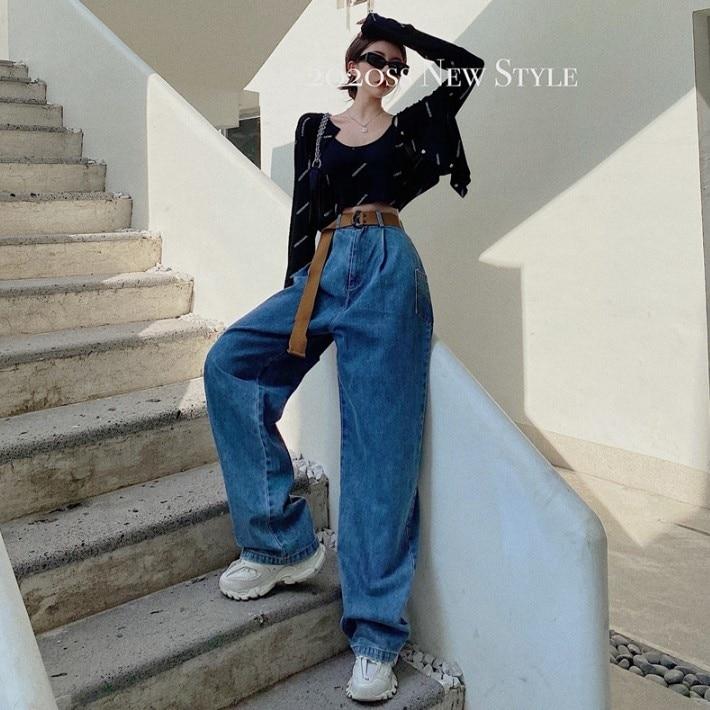 2021 Spring New Retro Wide-Leg Pants Loose High Waist Straight-Leg Shorts Mop Trousers Slimming Jean