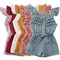 Pudcoco/хлопковая льняная одежда для новорожденных девочек; Однотонный комбинезон; Комбинезон; Пляжный костюм; Летняя одежда для малышей; От 1 до 5 лет