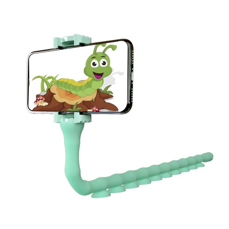 JUSFYU, lindo soporte de oruga perezoso, soporte de teléfono móvil, soporte de ventosa Flexible para teléfono, soporte para pared de hogar, bicicleta de escritorio