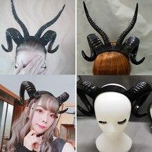 ปีศาจ Evil ฮอร์น Headwear คอสเพลย์ Props ผู้หญิงฮาโลวีนอุปกรณ์เสริม Hairpin Evil Gothic Lolita Sheep Horn Headband