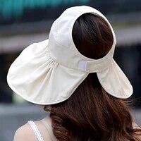 lady sun hat topee summer uv cut sandy beach foldable sunscreen sunbonnet empty top korean edition big brim woman