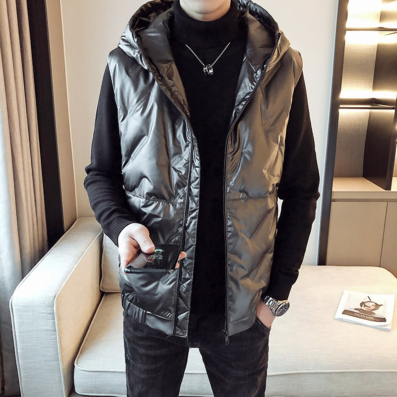 Mens Down Vest Sleeveless Jacket 80% Duck Down British Style Winter Fashion Casual Waistcoat Brand Clothing Men's Vest Big Size winter new style ladies stand up collar lightweight down vest casual style down vest women s big pocket fashion solid color vest