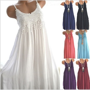 Dress Sexy Women Sleeveless Lace Flowers Solid Color Comfortable Long Maxi Dress Maxi Dress Female Clothing Dress Lady Vestidos